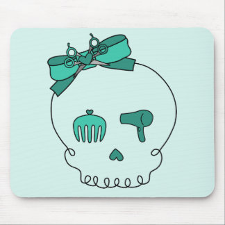 Hair Accessory Skull (Bow Detail - Turquoise #2) Mouse Pad
