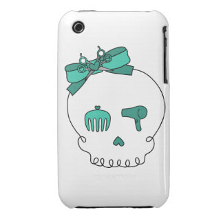 Hair Accessory Skull (Bow Detail - Turquoise) iPhone 3 Case-Mate Case