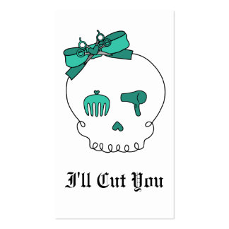 Hair Accessory Skull (Bow Detail - Turquoise) Double-Sided Standard Business Cards (Pack Of 100)