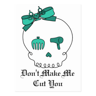 Hair Accessory Skull (Bow Detail - Turquoise) Postcard