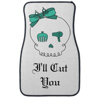 Hair Accessory Skull -Bow Detail Turquoise/ Text 3 Car Mat