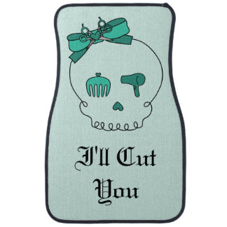 Hair Accessory Skull -Bow Detail Turquoise/ Text 4 Car Mat