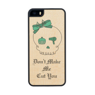 Hair Accessory Skull (Bow Detail Turquoise & Text) Carved® Maple iPhone 5 Case
