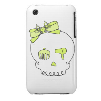 Hair Accessory Skull (Bow Detail - Yellow) iPhone 3 Case-Mate Case