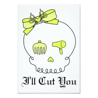 Hair Accessory Skull (Bow Detail - Yellow) Personalized Invites