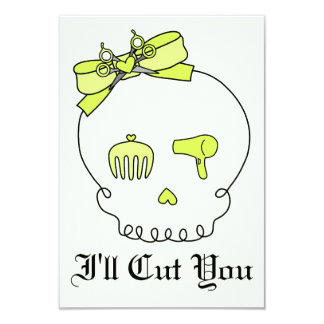 Hair Accessory Skull (Bow Detail - Yellow w/ Back) 3.5x5 Paper Invitation Card