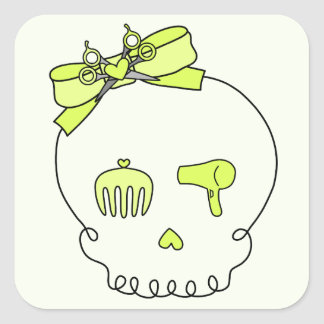 Hair Accessory Skull (Bow Detail - Yellow w/ Back) Square Sticker