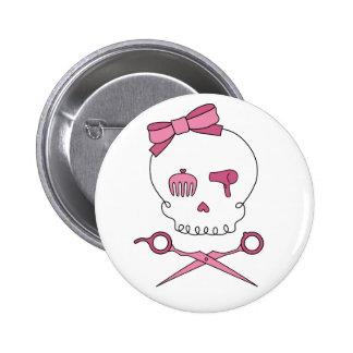 Hair Accessory Skull & Scissor Crossbones 2 Inch Round Button