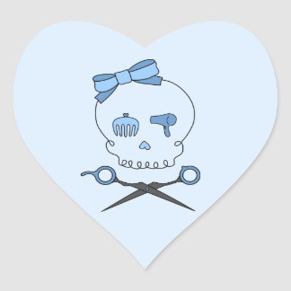 Hair Accessory Skull & Scissor Crossbones (Blue 2) Heart Sticker
