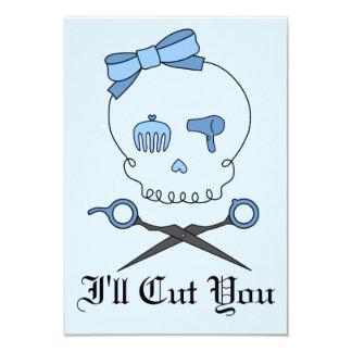 Hair Accessory Skull & Scissor Crossbones (Blue 2) 3.5x5 Paper Invitation Card