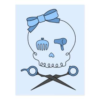 Hair Accessory Skull Scissor Crossbones Blue 2 Postcard