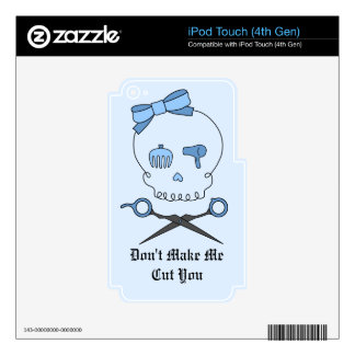 Hair Accessory Skull & Scissor Crossbones (Blue 2) Decal For iPod Touch 4G