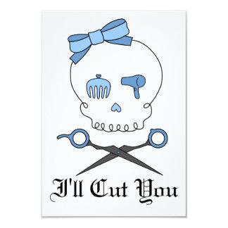 Hair Accessory Skull & Scissor Crossbones (Blue) 3.5x5 Paper Invitation Card