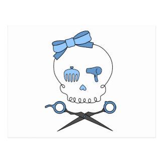 Hair Accessory Skull & Scissor Crossbones (Blue) Postcard