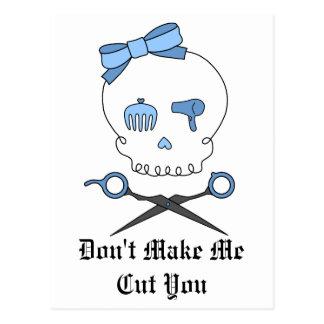 Hair Accessory Skull Scissor Crossbones Blue Postcards