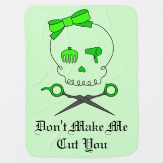 Hair Accessory Skull & Scissor Crossbones -Green 2 Baby Blanket