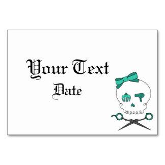 Hair Accessory Skull Scissor Crossbones Green Table Card