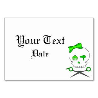 Hair Accessory Skull Scissor Crossbones Lt Green Table Cards