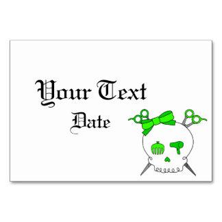 Hair Accessory Skull -Scissor Crossbones Lt Green Table Card