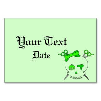 Hair Accessory Skull -Scissor Crossbones Lt Green Table Cards