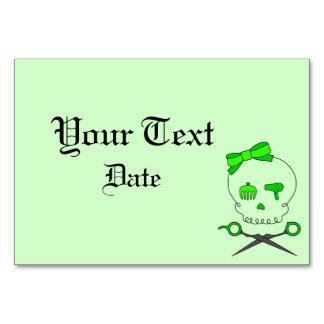 Hair Accessory Skull Scissor Crossbones Lt Green Table Card