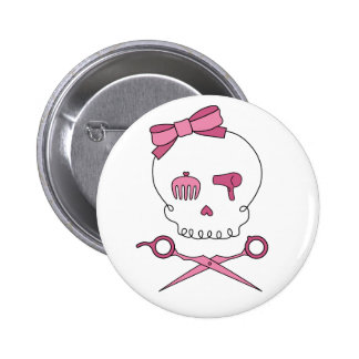 Hair Accessory Skull & Scissor Crossbones Pinback Button