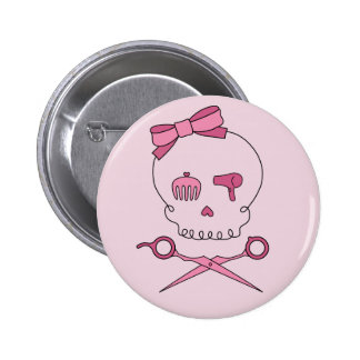 Hair Accessory Skull & Scissor Crossbones (Pink) 2 Inch Round Button