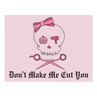 Hair Accessory Skull Scissor Crossbones Pink 2 Post Card