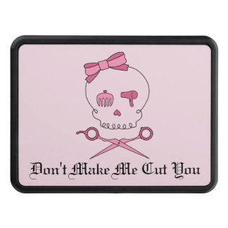 Hair Accessory Skull & Scissor Crossbones (Pink 2) Tow Hitch Cover