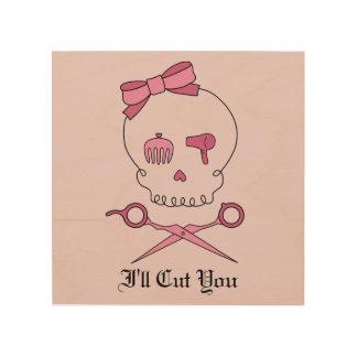 Hair Accessory Skull & Scissor Crossbones (Pink 2) Wood Print