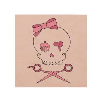 Hair Accessory Skull & Scissor Crossbones (Pink 2) Wood Prints