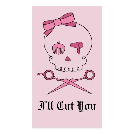Hair Accessory Skull & Scissor Crossbones (Pink) Business Cards