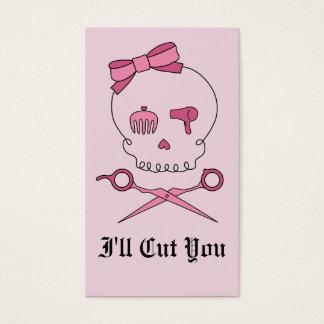 Hair Accessory Skull & Scissor Crossbones (Pink) Business Card