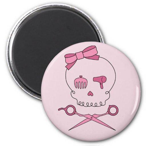 Hair Accessory Skull & Scissor Crossbones (Pink) 2 Inch Round Magnet
