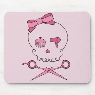 Hair Accessory Skull & Scissor Crossbones (Pink) Mouse Pad