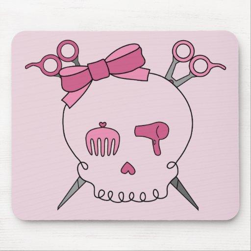 Hair Accessory Skull (Scissor Crossbones Pink) Mouse Pad