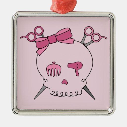Hair Accessory Skull (Scissor Crossbones Pink) Christmas Tree Ornaments