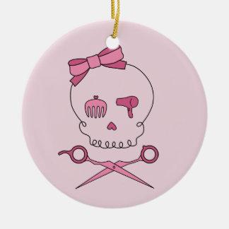 Hair Accessory Skull & Scissor Crossbones (Pink) Christmas Tree Ornament