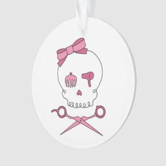 Hair Accessory Skull & Scissor Crossbones (Pink) Ornament