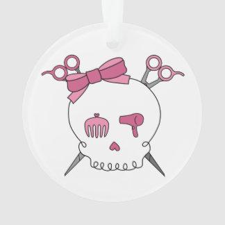 Hair Accessory Skull (Scissor Crossbones Pink) Ornament
