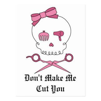 Hair Accessory Skull & Scissor Crossbones (Pink) Postcard