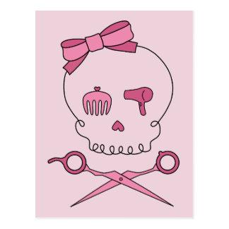 Hair Accessory Skull Scissor Crossbones Pink Post Cards