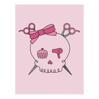 Hair Accessory Skull Scissor Crossbones Pink Postcard