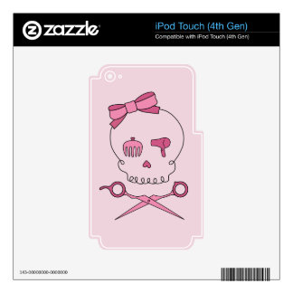 Hair Accessory Skull & Scissor Crossbones (Pink) Decals For iPod Touch 4G