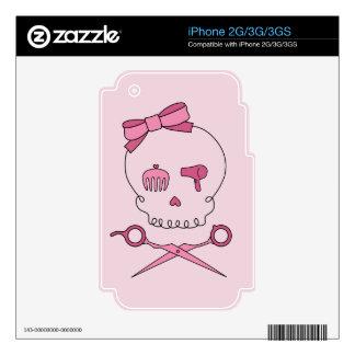 Hair Accessory Skull Scissor Crossbones Pink iPhone 3G Skin