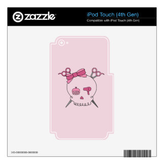 Hair Accessory Skull (Scissor Crossbones Pink) iPod Touch 4G Skin