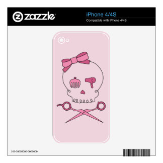 Hair Accessory Skull Scissor Crossbones Pink iPhone 4S Decal