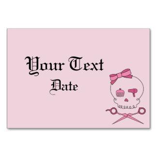 Hair Accessory Skull Scissor Crossbones Pink Table Card