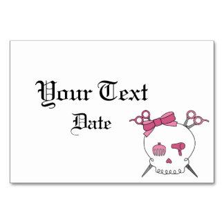 Hair Accessory Skull Scissor Crossbones Pink Table Cards