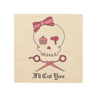 Hair Accessory Skull & Scissor Crossbones (Pink) Wood Canvas